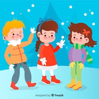 Kinder im schneewinterhintergrund