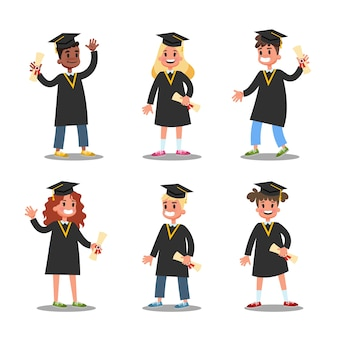 Kinder im schwarzen abschlusskleider-set. idee von bildung und leistung. feier des abschlusses. illustration