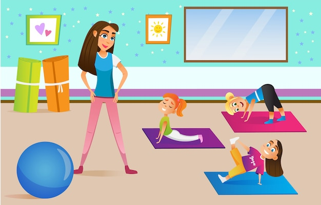 Kinder im sportunterricht mit lehrer.