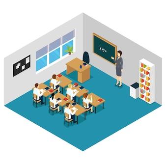 Kinder im unterricht isometrisch