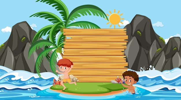 Kinder im urlaub an der strandtagesszene mit einer leeren bannervorlage