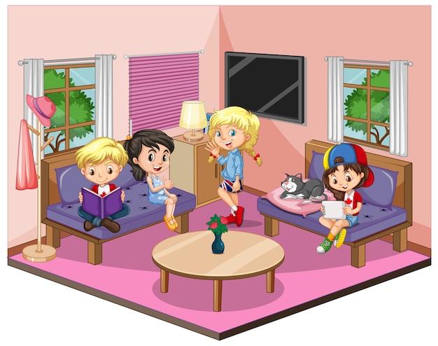 Kinder im wohnzimmer in der rosa themenszene auf weißem hintergrund