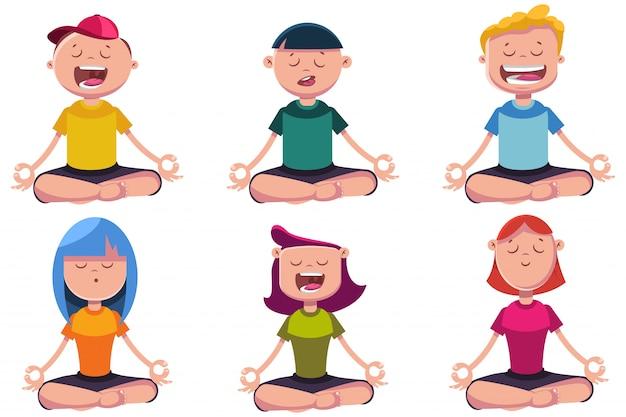 Kinder im yoga wirft die zeichentrickfilm-figuren auf, die auf weiß lokalisiert werden