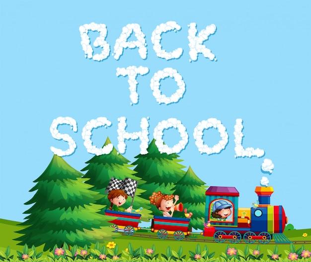 Kinder im zug zurück zur schule