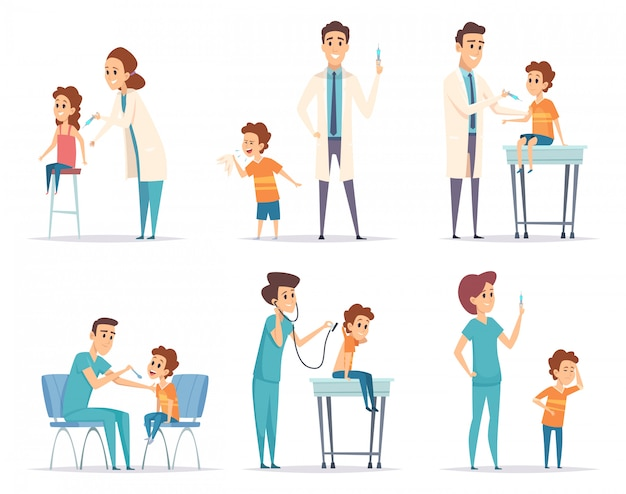 Kinder impfen. doktor gibt injektion zur medizinischen gesundheitskonzeptkarikaturillustrationen der kinder