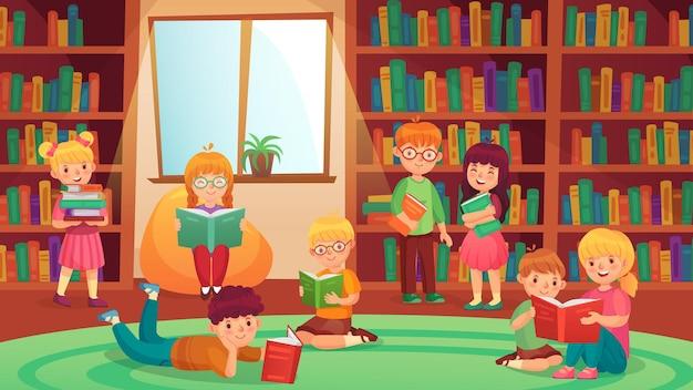Kinder in der bibliothek, die bücher lesen