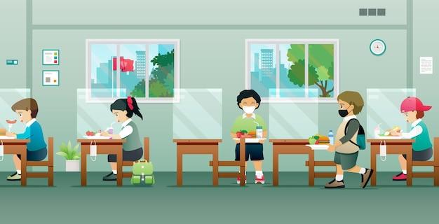 Kinder in der cafeteria mit sozialem distanzschutz