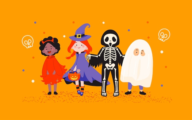 Kinder in der halloween-kostümparty auf orange hintergrundillustration