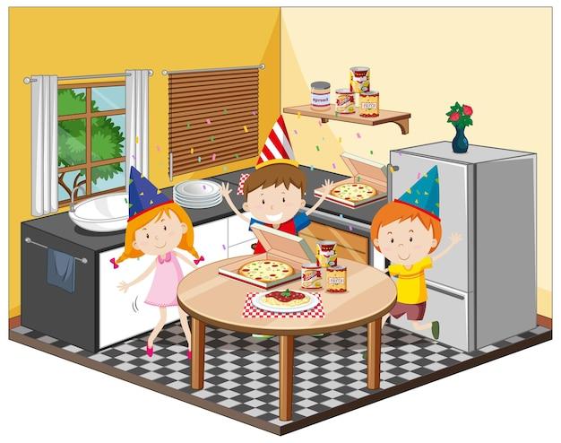 Kinder in der küche mit partymotiv