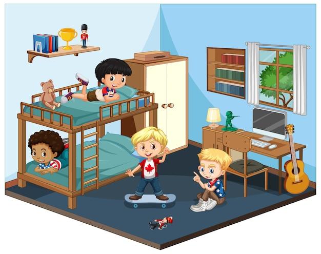 Kinder in der schlafzimmerszene auf weißem hintergrund