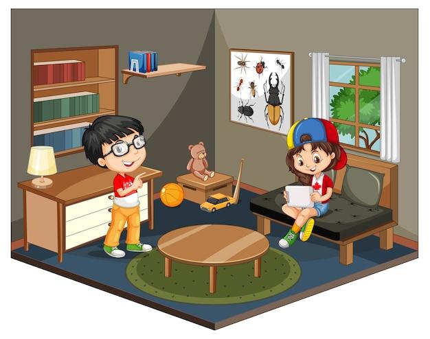 Kinder in der wohnzimmerszene auf weißem hintergrund