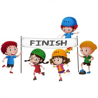 Kinder in einem rollschuhrennen design