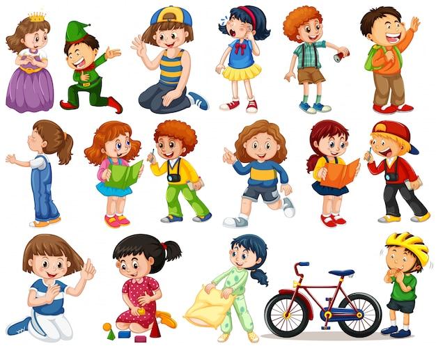 Kinder in großer gruppe spielen unsere verschiedenen rollen