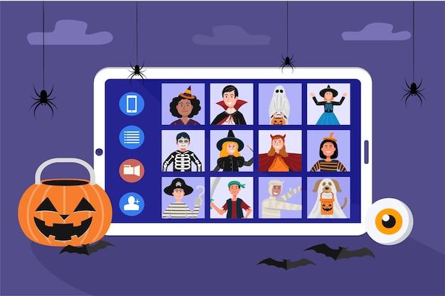 Kinder in halloween kleiden videotreffen wegen des ausbruchs der pandemie.