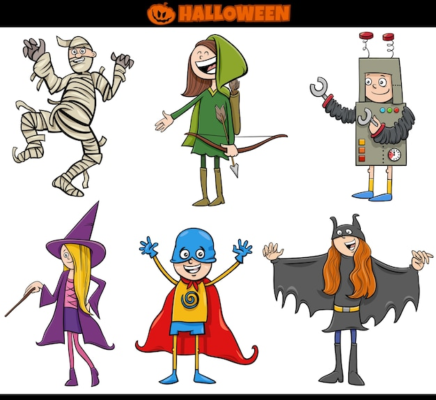Kinder in halloween-kostümen setzen karikaturillustration