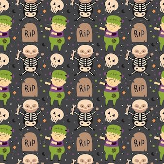 Kinder in halloween-kostümen von gruseligen kreaturen tag des nahtlosen musters des toten feiertags
