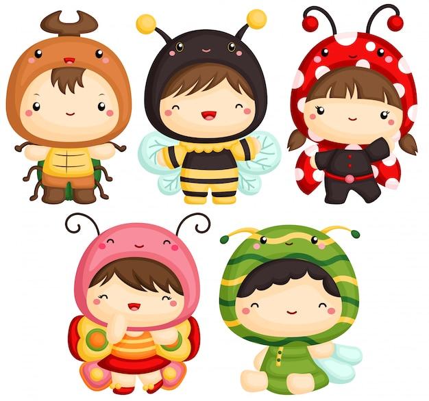 Kinder in käfern niedlichen kostüm