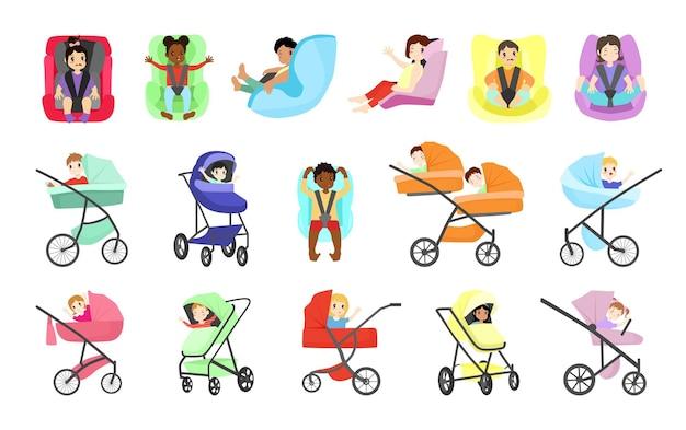 Kinder in kinderwagen und autositzen