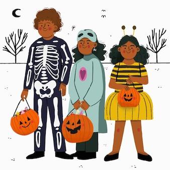 Kinder in kostümen, bereit für süßes oder saures