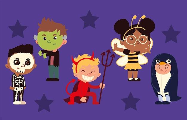 Kinder in kostümen halloween