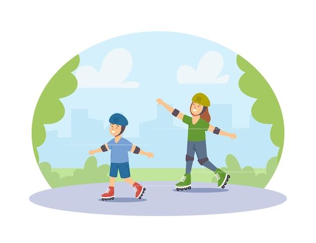 Kinder in schutzhelmen, die rollschuhe im park reiten. kinder-familien-charaktere outdoor-aktivität, sport-erholung