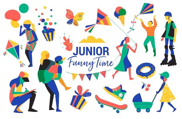 Kinder, jugendliche, kindheits- und partysymbole