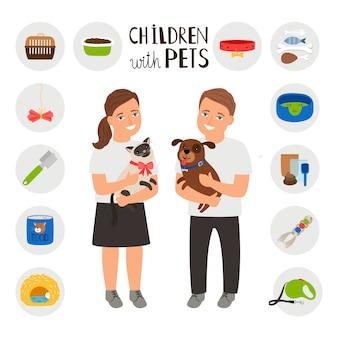 Kinder junge und mädchen mit haustieren katze und hund