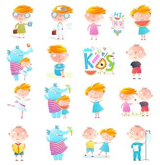 Kinder jungen und mädchen sammlung clipart