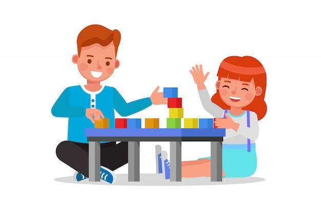Kinder jungen und mädchen spielen holzspielzeug zu hause charakter.