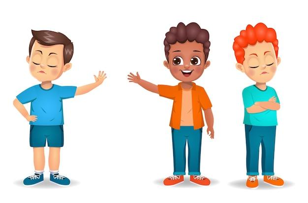 Kinder jungen wütend aufeinander