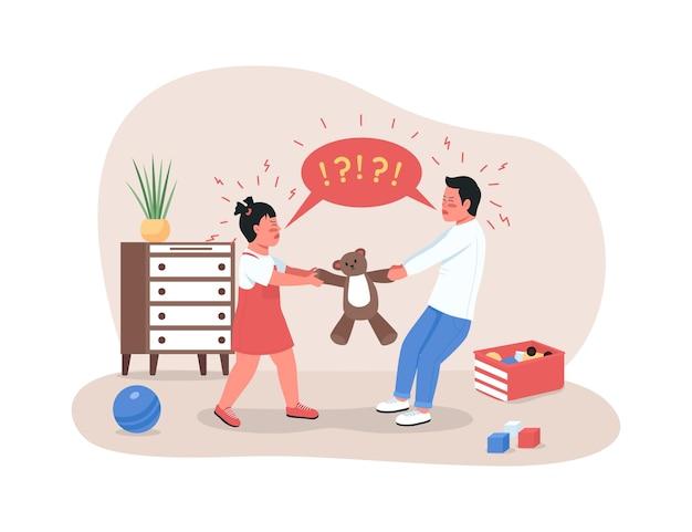 Kinder kämpfen um spielzeug 2d web-banner