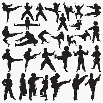 Kinder karate silhouetten