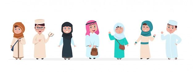 Kinder. kinder zeichentrickfiguren. schuljunge und -mädchen im saudischen traditionellen kleidungsset