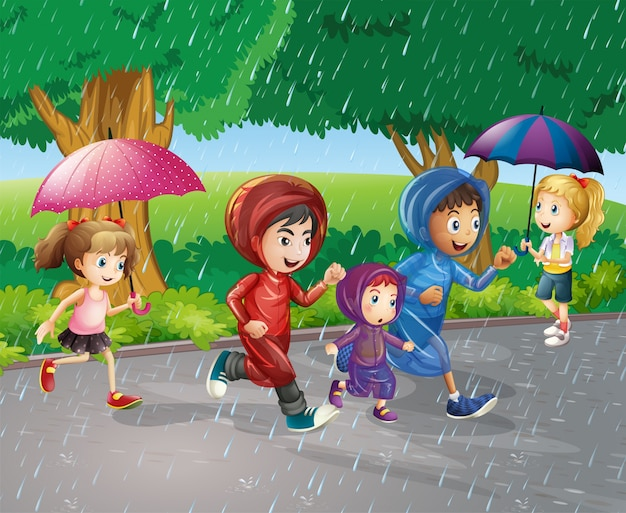 Kinder laufen im regen