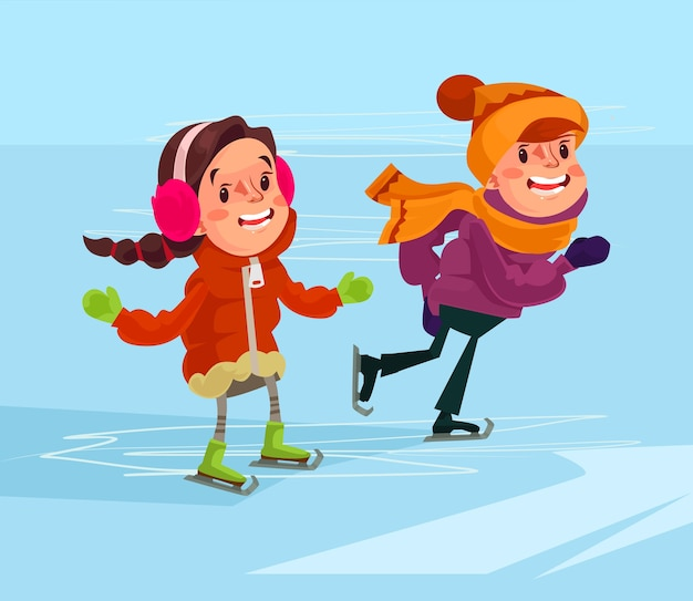 Kinder laufen schlittschuh.
