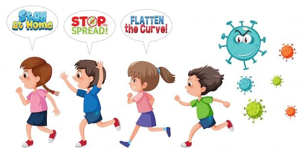 Kinder laufen vor dem coronavirus davon