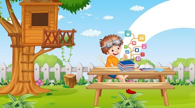 Kinder lehnen sich online mit tablet im park