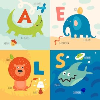 Kinder lernen alphabet mit tierillustrationskonzept