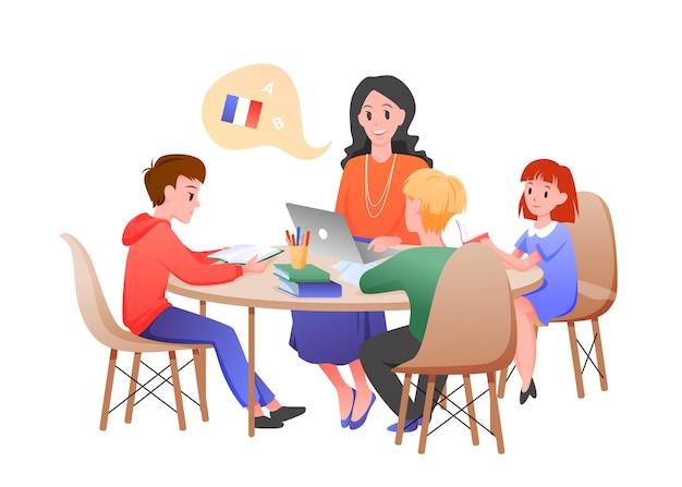 Kinder lernen französischunterricht