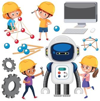 Kinder lernen technologie mit werkzeugen