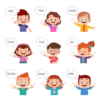 Kinder lernen zahl mit fingersatzbündel