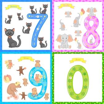 Kinder lernen zu zählen und zu schreiben. das studium der zahlen 0-10