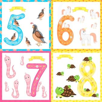 Kinder lernen zu zählen und zu schreiben. das studium der zahlen