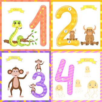 Kinder lernen zu zählen und zu schreiben.