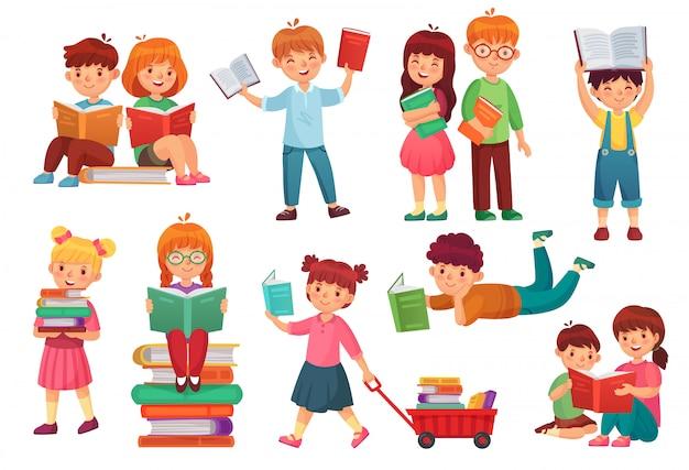 Kinder lesen buch. glückliche kinderlesebücher, mädchen und junge, die zusammen lernen und junge studenten lokalisierten karikaturillustration