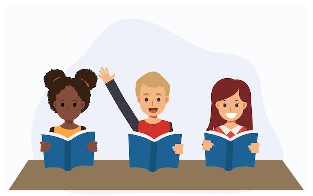Kinder lesen buch in der klasse. der junge ist hoch, um zu antworten. studieren lernen bildungskonzept. flache vektor-cartoon-charakter-illustration.