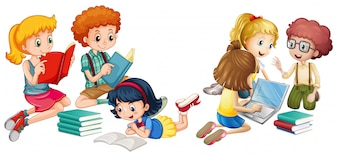 Kinder lesen Bücher und arbeiten am Computer