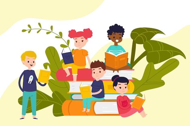 Kinder lesen bücher auf haufen von riesigen büchern, bildung und wissen, schüler, schüler und mädchen, leser, cartoon-illustration.