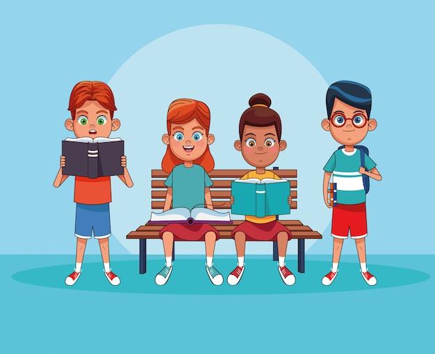 Kinder lesen bücher cartoons