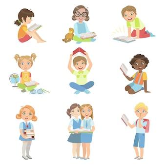 Kinder lesen bücher icon set